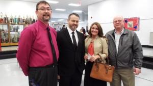Chamber President Steve McKinney with Livingston Jason Medley, Natasha Medley and Carl Swanigan.